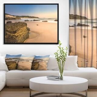 Designart 'Beautiful Rocky Seashore at Norah Head' Large Seashore Framed Canvas Print