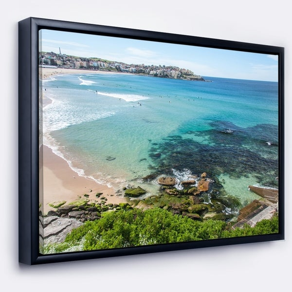 Designart 'Expansive Sydney Bondi Beach' Large Seashore Framed Canvas Print