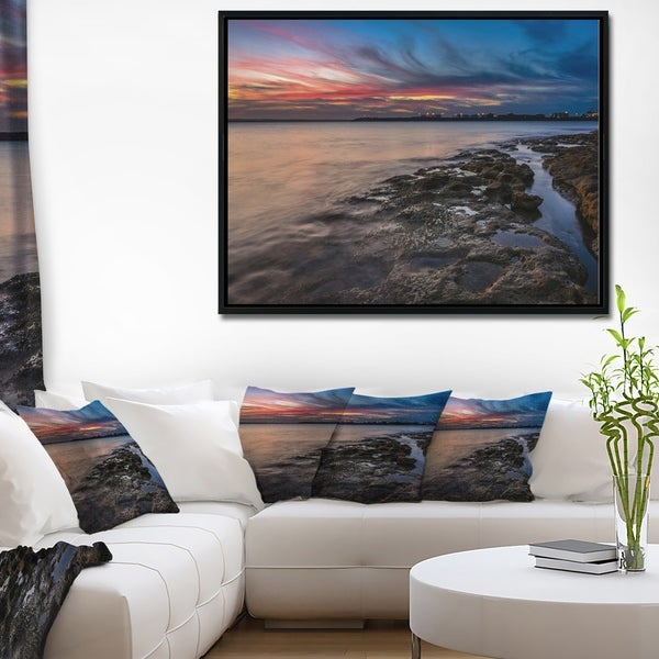 Designart 'Colorful Sky and Dark Rocky Sydney Coast' Large Seashore Framed Canvas Print