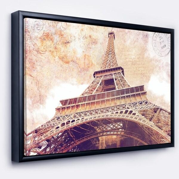 Designart 'Paris Paris Eiffel TowerParis Postcard Design' Cityscape Framed Canvas Print
