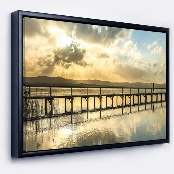 Designart 'Long Jetty Foreshore Reserve Panorama' Sea Bridge Framed Canvas Art Print