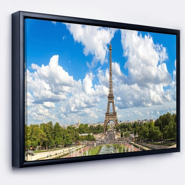 Designart 'Panoramic Paris Paris Eiffel Towerunder Clouds' Cityscape Framed Canvas Print