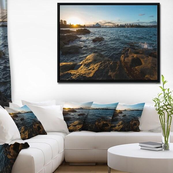 Designart 'Sunset at Opera House Sydney' Large Seashore Framed Canvas Print