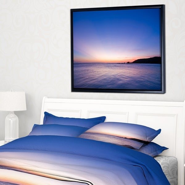 Designart 'Bright Blue Sky and Waters at Sunset' Large Seashore Framed Canvas Print