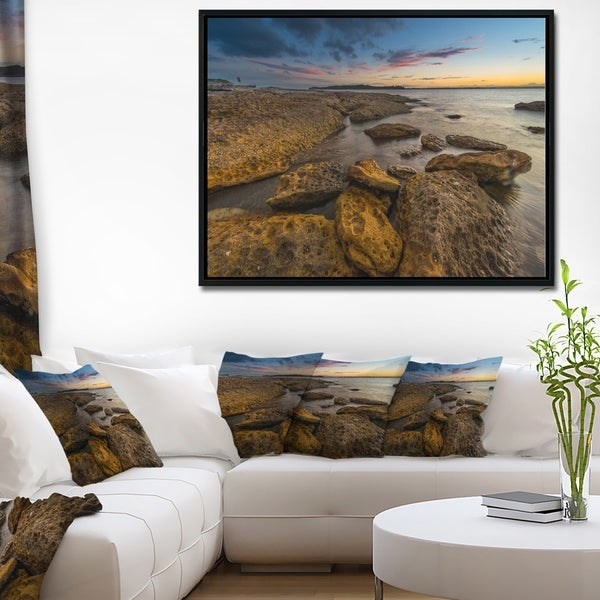 Designart 'Large Brown Rocks at Sydney Beach' Large Seashore Framed Canvas Print