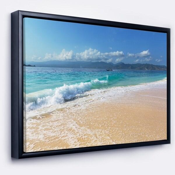 Designart 'Large Blue Beach in Gili Island' Large Seashore Framed Canvas Print