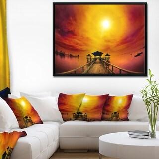 Designart 'Exotic Wood Pier under Yellow Sun' Sea Bridge Framed Canvas Art Print