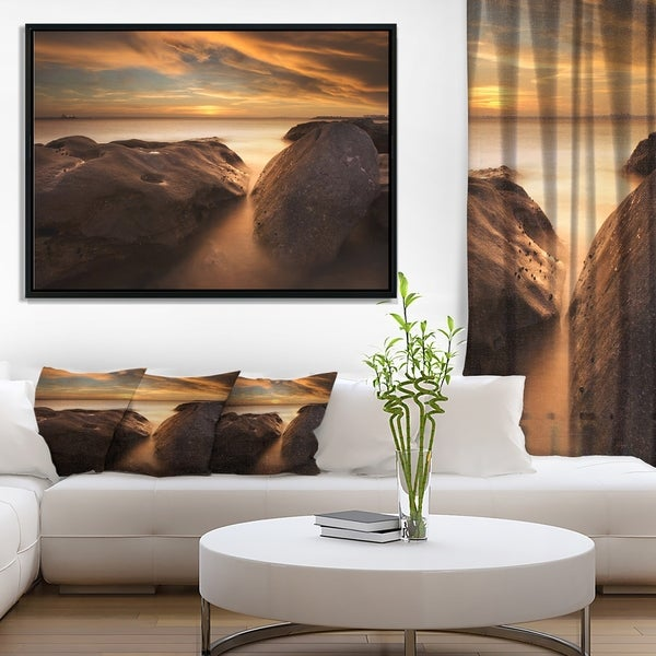 Designart 'Large Rocks at La Perouse Bridge' Large Seashore Framed Canvas Print