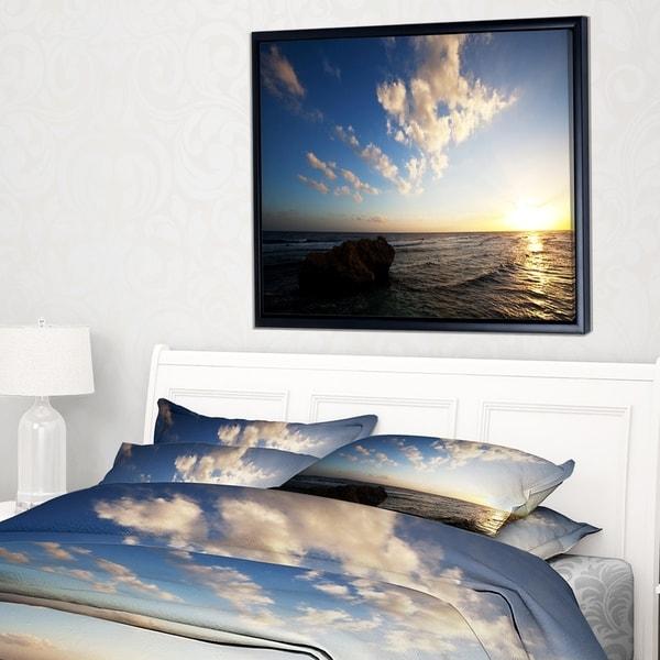 Designart 'Evening Sea after Heavy Storm' Modern Beach Framed Canvas Art Print