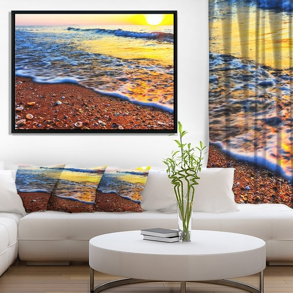 Designart 'Sunset Reflecting in Blue Waves' Large Seashore Framed Canvas Print