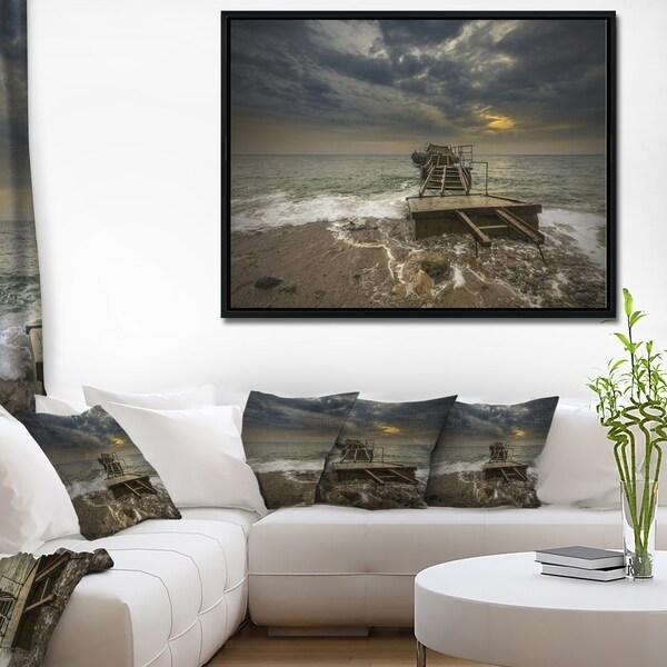 Designart 'Ruined Wooden Pier for Boats at Sunset' Sea Bridge Framed Canvas Art Print