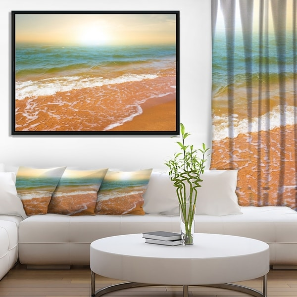 Designart 'Clear Waters in Early Morning Beach' Large Seashore Framed Canvas Print