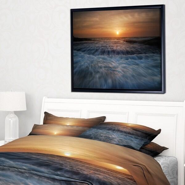 Designart 'Sunrise over Rushing White Waves' Modern Beach Framed Canvas Art Print