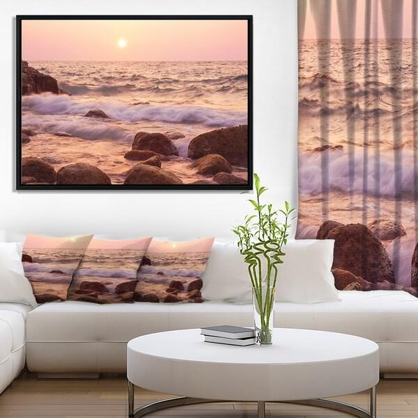Designart 'Foam Waves Hitting Rocky Coast' Large Seashore Framed Canvas Print