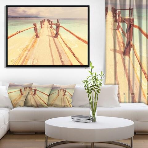 Designart 'Large Wooden Pier at Gili Island' Sea Bridge Framed Canvas Art Print
