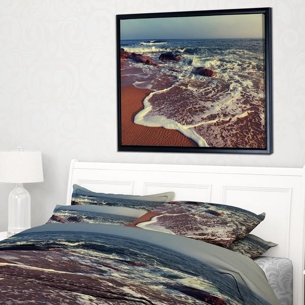 Designart 'Foaming Waves Kissing Wide Beach' Large Seashore Framed Canvas Print