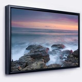 Designart 'Blue Rocky Sea Beach Sunset' Modern Landscape Wall Art Framed Canvas