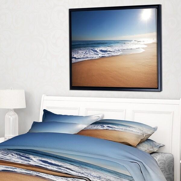 Designart 'Calm Blue Seashore with White Sun' Large Seashore Framed Canvas Print