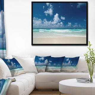 Designart 'Bright Blue Sky on Winter Day' Large Seashore Framed Canvas Print