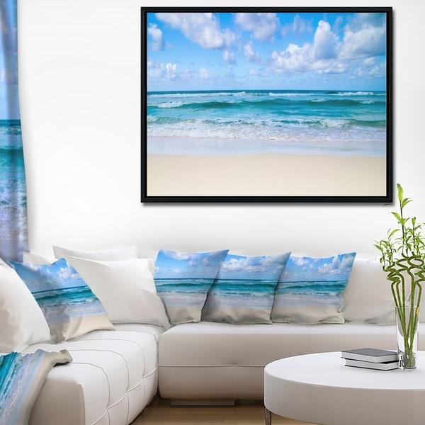 Designart 'Serene Blue Tropical Beach' Large Seashore Framed Canvas Print
