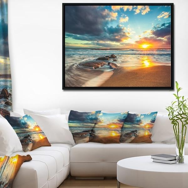 Designart 'Beautiful Cloudscape over the Sea' Modern Beach Framed Canvas Art Print