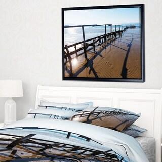 Designart 'Wooden Boardwalk on Beach' Large Sea Bridge Framed Canvas Art Print