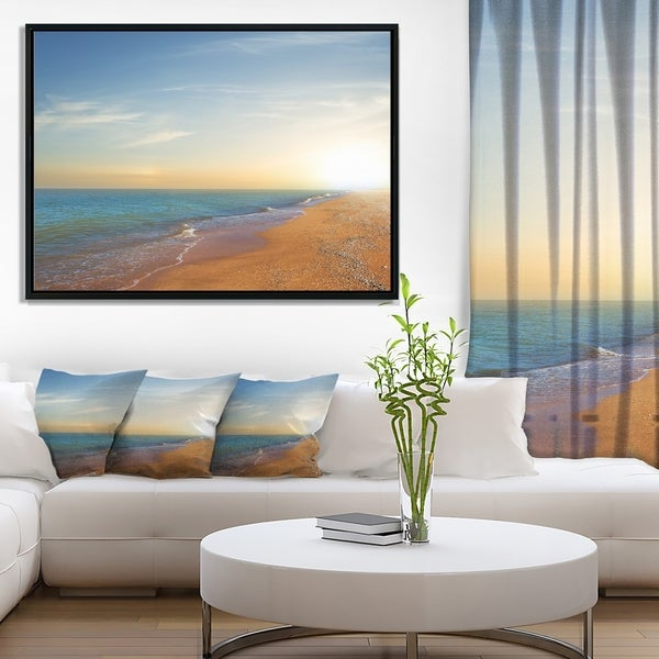 Designart 'Quiet Evening Blue Beach' Large Seashore Framed Canvas Print