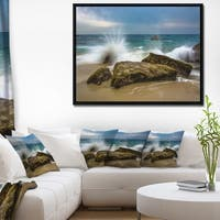 Designart 'Waves Crashing Rocks at Woods Cove' Seascape Framed Canvas Art Print