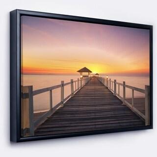 Designart 'Wide Wooden Bridge into the Sea' Pier Seascape Framed Canvas Art Print
