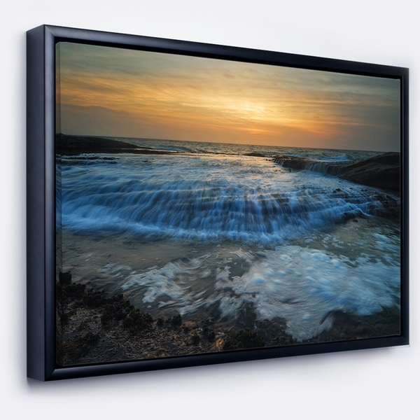 Designart 'Beach with Rushing White Waves' Modern Beach Framed Canvas Art Print