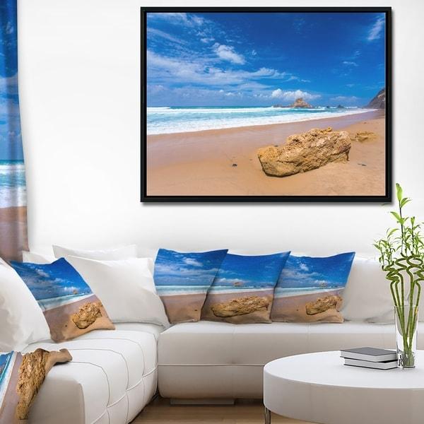 Designart 'Huge Brown Rock in Atlantic Seashore' Seascape Framed Canvas Art Print