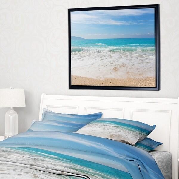 Designart 'White Waves Kissing Beach Sand' Large Seashore Framed Canvas Print