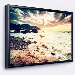 Designart 'Summer Seascape with Scenic View' Seashore Framed Canvas Art Print