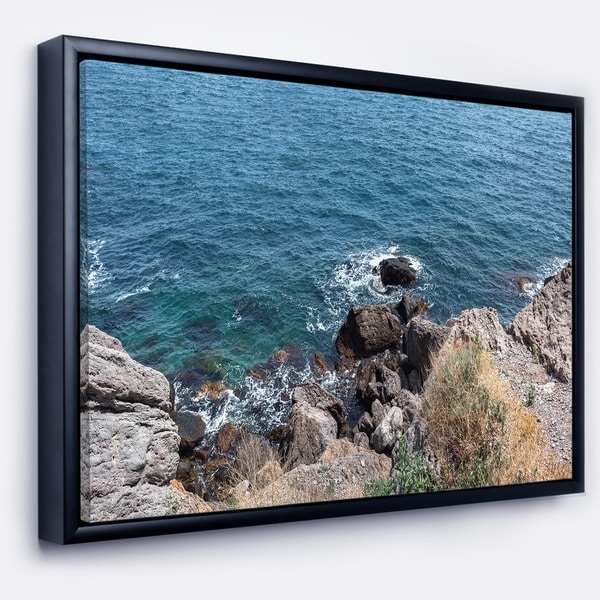 Designart 'Blue Waters at Crimean Peninsula Beach' Seashore Framed Canvas Art Print