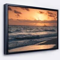 Designart 'Colorful Sunrise over Atlantic Ocean' Beach Photo Framed Canvas Print