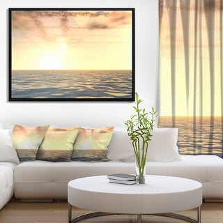 Designart 'Beautiful Seascape with Clouds Over' Beach Photo Framed Canvas Print