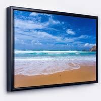 Designart 'Serene Atlantic Seashore Portugal' Seascape Framed Canvas Art Print