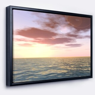 Designart 'Purple Tinged Atlantic Seashore' Seascape Framed Canvas Art Print