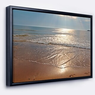Designart 'Tranquil Seashore with Crystal Waters' Seascape Framed Canvas Art Print