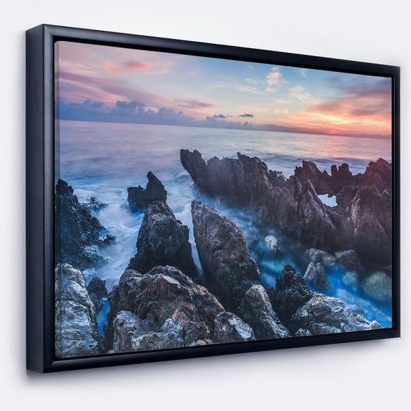 Designart 'Blue Sunrise Over Coast of Sicily' Beach Photo Framed Canvas Print