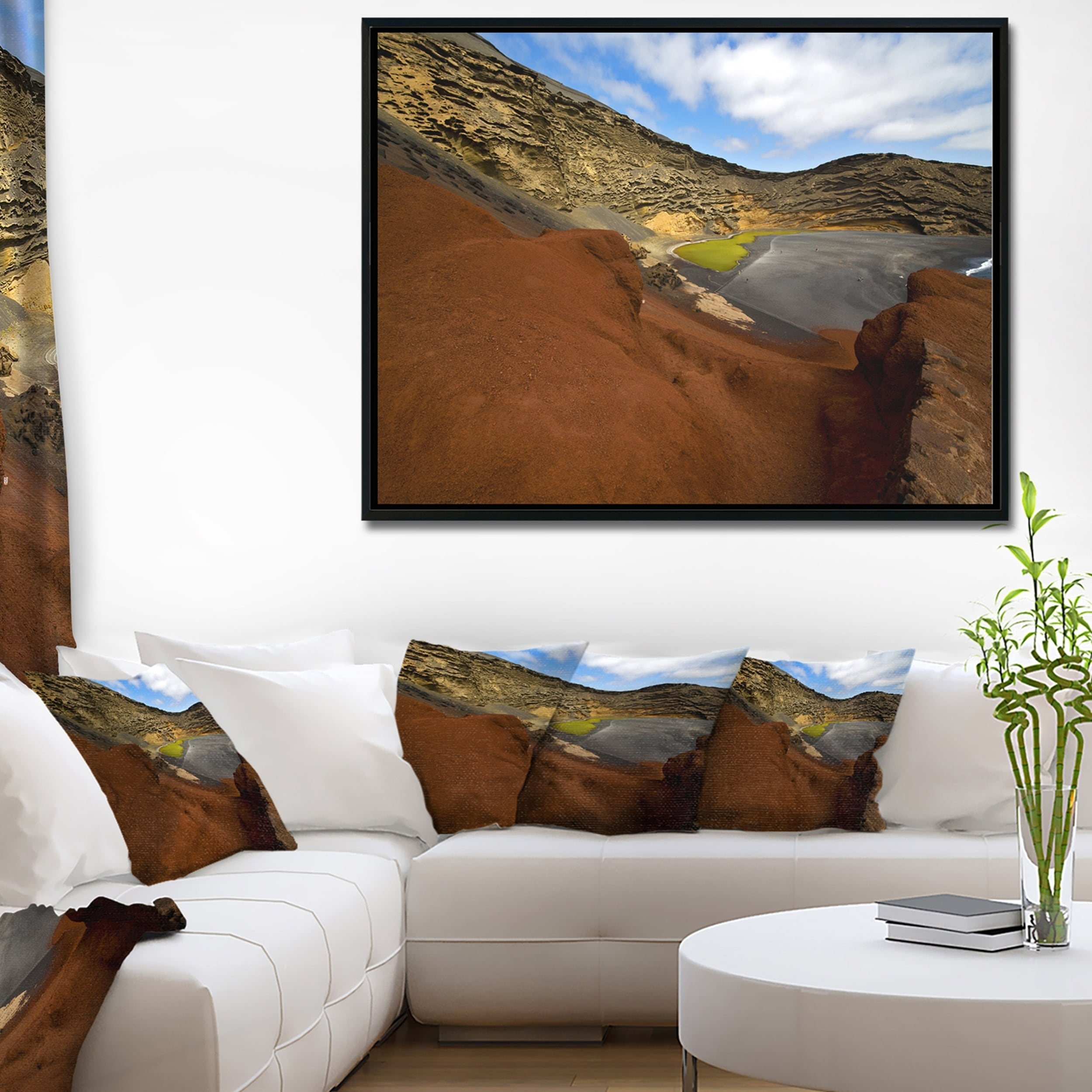 Shop Designart In El Golfo Lanzarote Spain Musk Pond Seashore Framed Canvas Art Print Free Shipping Today Overstock 18957239