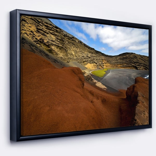Designart 'In El Golfo Lanzarote Spain Musk Pond' Seashore Framed Canvas Art Print