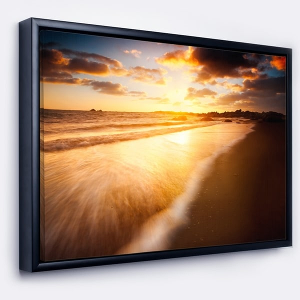 Designart 'Amazing Sunrise Over Australian Beach' Seashore Framed Canvas Art Print