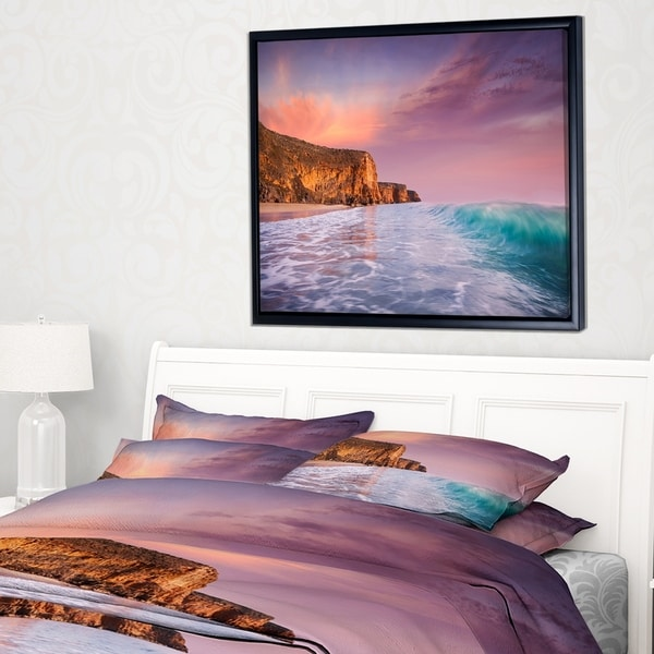 Designart 'Beautiful Paradise Sunset' Extra Large Seascape Art Framed Canvas