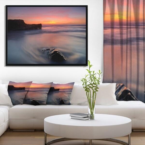 Designart 'Softness in the Tide Magoito Beach' Seashore Framed Canvas Art Print
