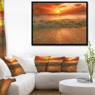 Designart 'Amazing Beauty of Sun Reflection in Sea' Extra Large Seascape Art Framed Canvas