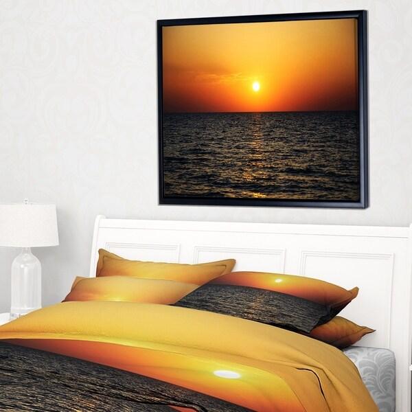 Designart 'Sunset Panorama under Sea Surface' Modern Seashore Framed Canvas Art