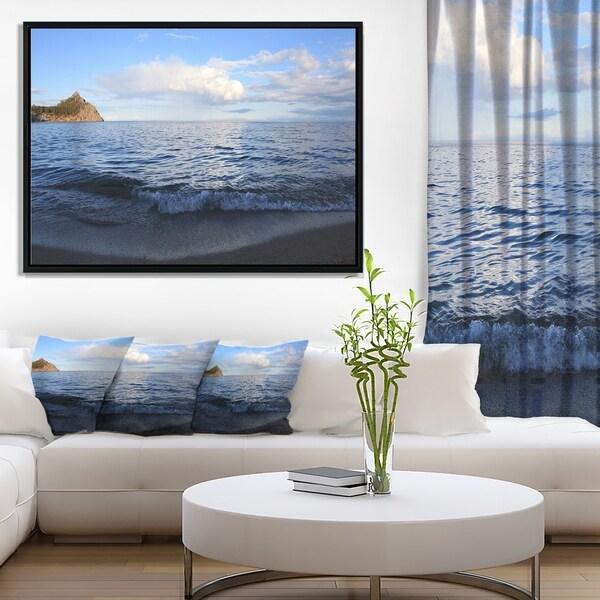 Designart 'Wave with Whitecaps on Lake Baikal' Seashore Framed Canvas Art Print