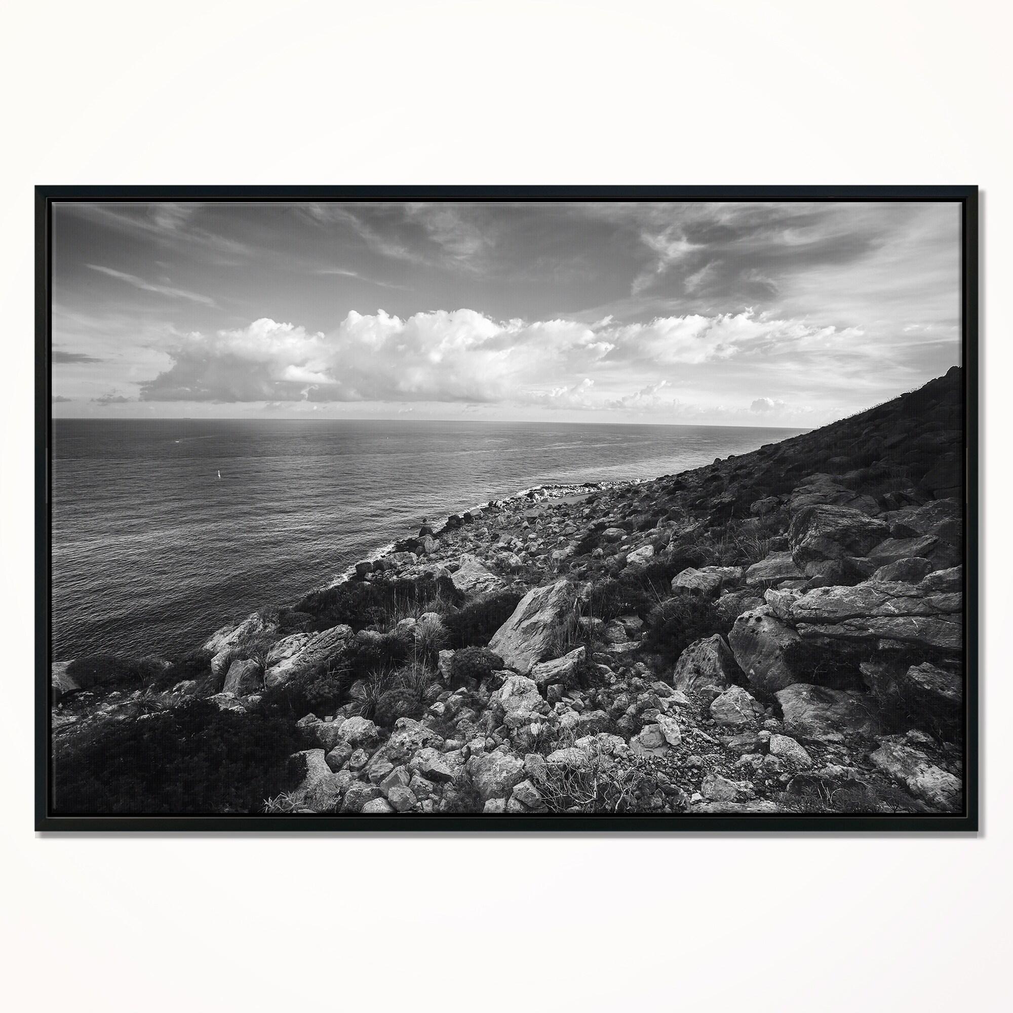 Designart sunrise over sicily black and white beach photo framed canvas print