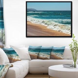 Designart 'Ideal Blue Atlantic Beach in Summertime' Seashore Framed Canvas Art Print